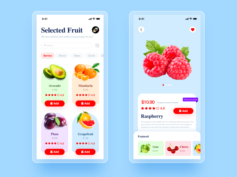 Fruit app ui design red natural illustration uiux fruit illustration fruit 应用界面设计