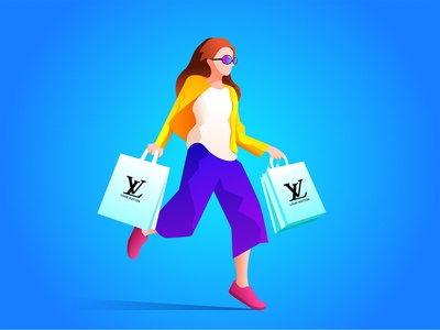 Female shopping illustration for Louis Vuitton