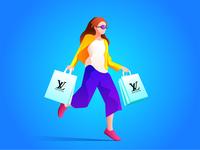 Female shopping illustration for Louis Vuitton