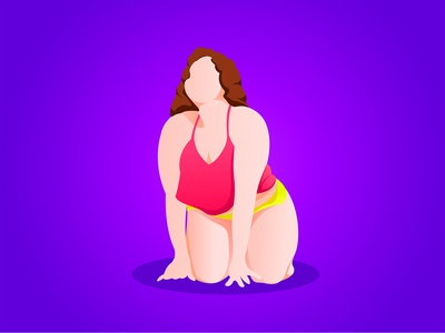 Illustrations created for the global problem of female obesity