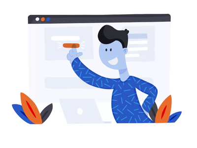 Office Man Working Flat Illustration landing page illustration saas timelapse procreate flat illustration touch screen office work