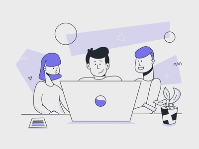 Team Collaboration Landing Page Illustration ipad pro affinity designer vector startup tech colleagues working on laptop teamwork team collaboration