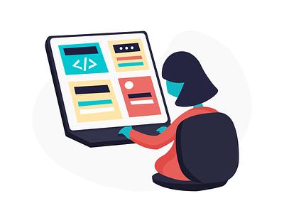 Develop Vector Illustration startup toms design onboarding ui illustration affinity designer saas vector illustration flat design app office working programme code develop