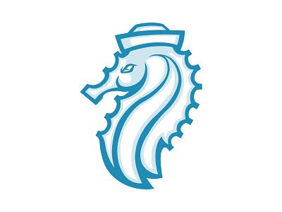 Seahorse Sailor Premade Logo sea logo turquoise logo custom logo business logo premade logo wild sea horse nature seahorse