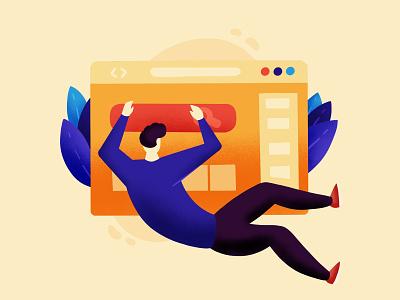 Web Surfer Illustration uxui tech browser ipadpro procreate product illustration flat illustration webdesign