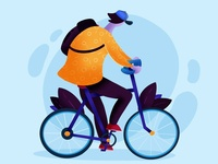 Biking in Copenhagen illustration