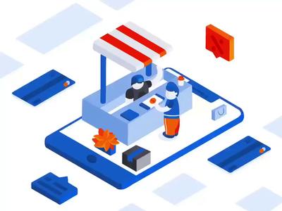 Online Shopping Isometric Illustration