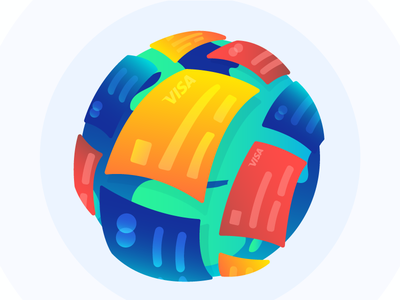 Credit Cards Around the Globe Illustration social media adobe illustrator online payment flat illustration mastercard visa payment credit card