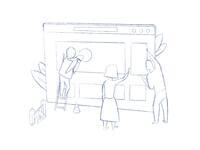 Sketch under construction flat illustration toms stals phantoms