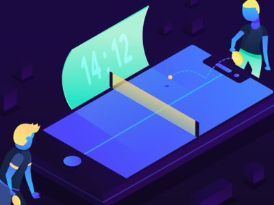 Gamification Flat Vector Illustration gradient adobe illustrator tech vector flat illustration ping pong table tennis game gamification
