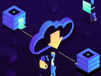Cloud Computing Isometric Illustration