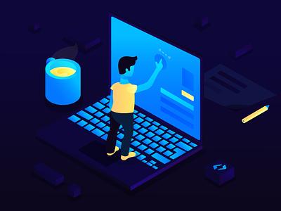 Developer Tools Isometric Illustration adobe illustrator vector ui character procreate startup flat illustration development developer tools