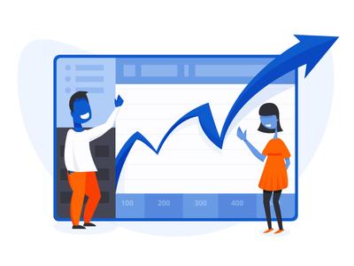 Business Growth Flat Illustration saas illustration adobe illustrator startup growth hacking landing page growth business