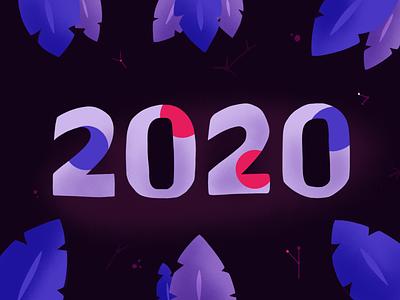 Happy New Year 2020 Everyone!! flat illustration stars universe cosmo fireworks celebration 2020 happy new year
