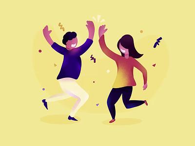 Celebrating Success Flat Illustration landing page illustration saas ipad pro art procreate flat illustration people dancing party goal celebrate
