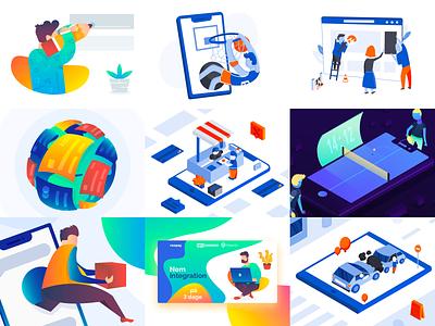 Top 9 of 2019 shots branding web vector illustration flat design best 9 top nine