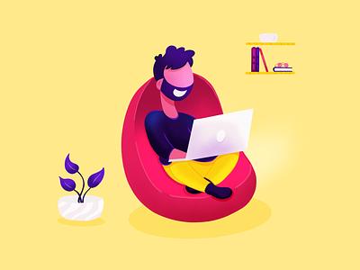 Working On The Laptop Flat Illustration startup landing page illustration saas ipad pro illustration working on laptop procreate