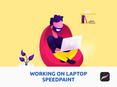 Working On Laptop Speedpaint in Procreate plant co op space landing page illustration saas laptop ipad pro procreate working home