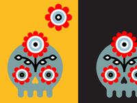 angry flower skull