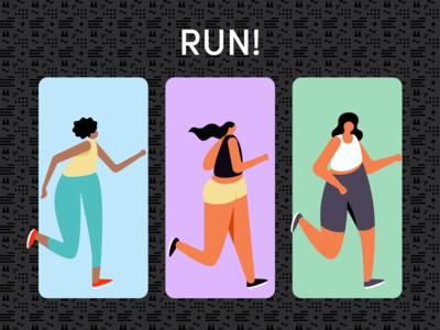 Keep on running branding illustration sports