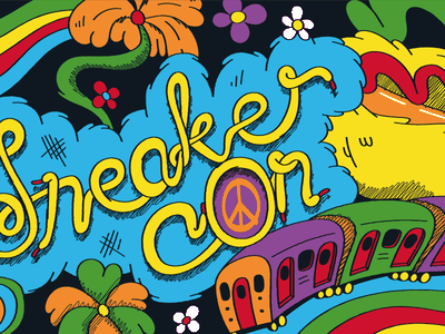 Sneaker Con Southeast Asia drawing vector illustration dr seuss nyc acid trip sneaker con