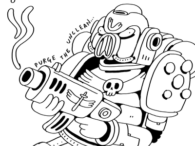 Brother Drusius of the Iron Hands space marine drawing illustration warhammer40k warhammer