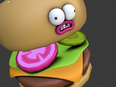 Big Kahuna Burger character blender low poly fast food burger 3d