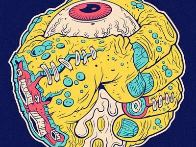 Fist Face madball madballs retro 80s 1980s toy vector sick eye eyeball fist hand