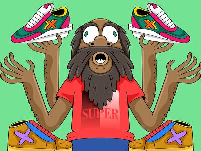 Sneaker God nike sacai hypebeast supreme blazer cpfm illustration vector sneakers