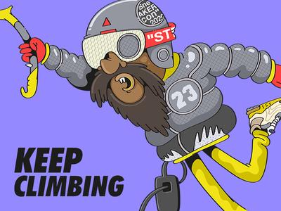 Keep Climbing sneakercon hypebeast offwhite jordan5 illustration drawing character cartoon climber mountain climbing