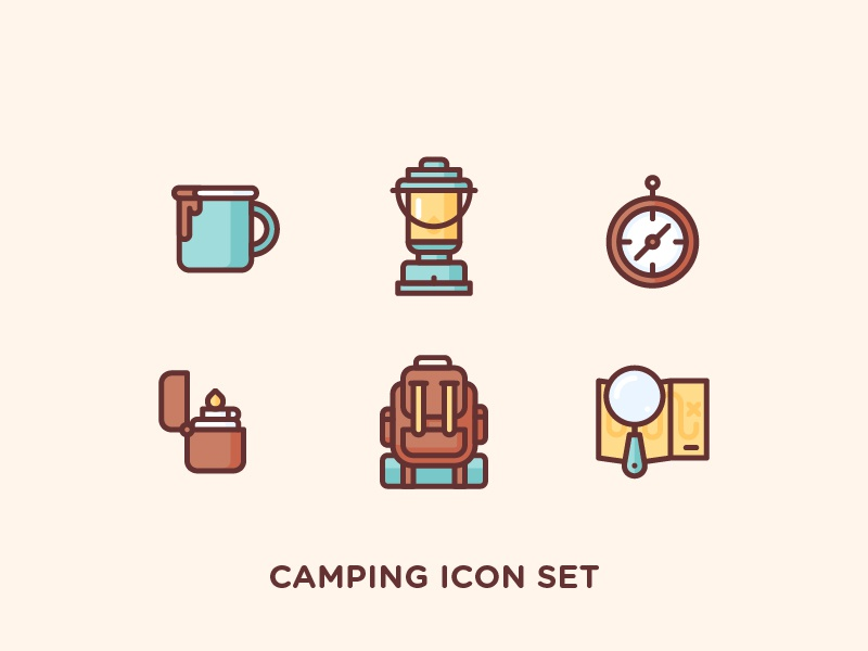 Camping Icon Set illustration outline icon outdoor glass magnifier backpack lighter compass lantern cup coffee