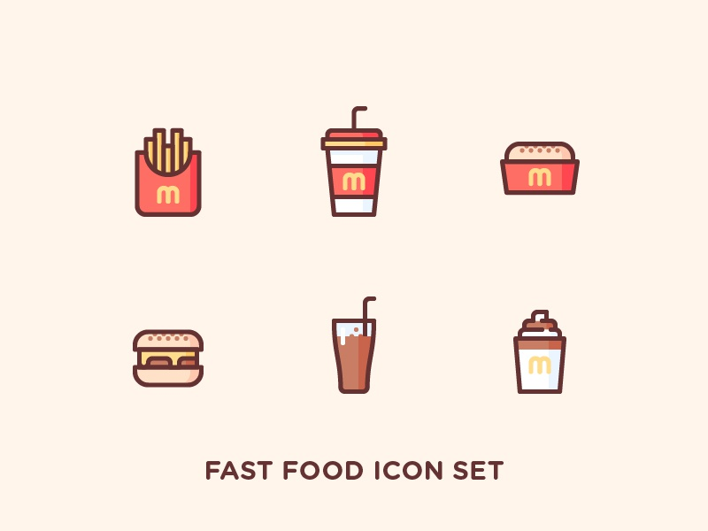 Fast Food Icon Set cream ice cup straw cheese meat hamburger drink soda chips fries