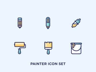 Painter Icon Set illustration minimal outlined bucket brush paint roller eyedropper pen pencil