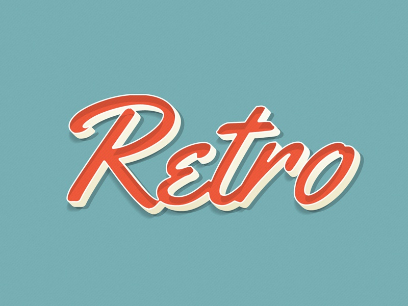 3D retro text old style 3d typography pastel 3d vintage retro text