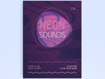 Electro flyer neon minimal urban electro club party vibrant music electronic flyer