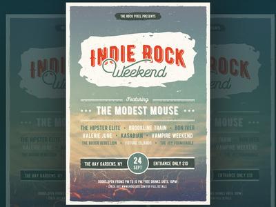 Indie rock flyer festival vintage rock indie flyer