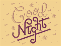 good night typo type lettering letters vector typography design illustration