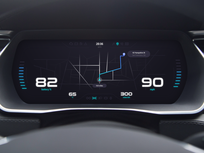 Electric Car Dashboard — UI Weekly Challenges S2 / W4/10 maps navigaton electric weeklyui ui dashboard car