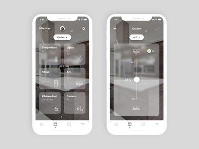Smart Home—UI Weekly Challenges-Season 02 / Week [8/10] mobile app slider widget card device iot ui home smart