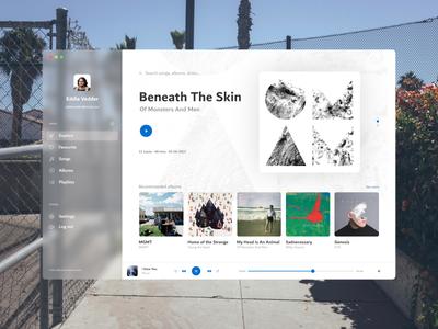 Music Player desktop transparent blur app ui player music