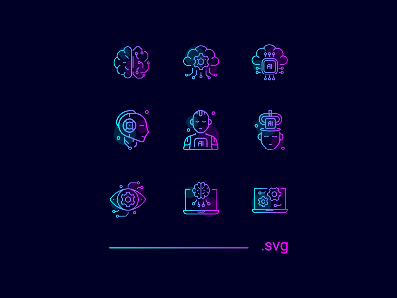 FREE - Artificial Intelligence Icons gradient download free icons line intelligence artificial ai