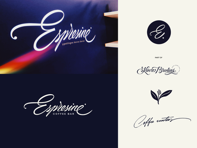Espresinė mark logolearn new logodesigner logotype logodesign coffee unique logo logo handwritten unique branding process custom calligraphy script flow lettering type
