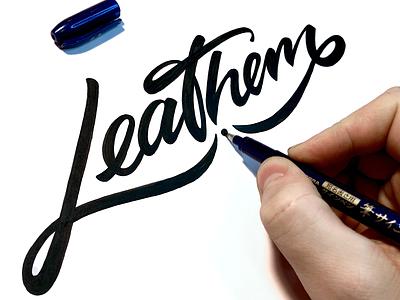 Leathem handwritting brushlettering urban music brand identity handtype logotype brush branding design leathem handwritten branding process sketch logo custom calligraphy script flow lettering