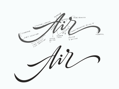 Air elegant classy logotype logodesign handtype light packaging fresh air logolearn typography handwritten unique branding process sketch custom calligraphy script lettering