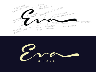 Eva&Face handwritten logo handtype logotype unique logolearn goodtype elegant beauty fashion makeup typography handwritten branding process logo custom calligraphy script flow lettering