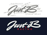 Just.B lettering logo brush lettering idea guidelines process justb logolearn cars racing lettering illustration typography handwritten branding sketch logo script custom calligraphy