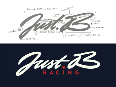 Just.B lettering logo brush lettering idea guidelines process justb logolearn cars racing lettering illustration typography handwritten branding sketch logo script custom calligraphy