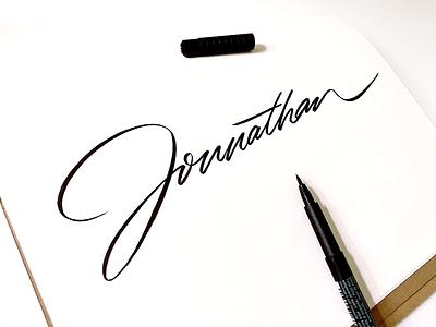 Jonnathan calligraphy logo type brush naming moleskine identity personal branding personal handwrittenfont classy typography unique handwritten logo custom calligraphy script flow lettering