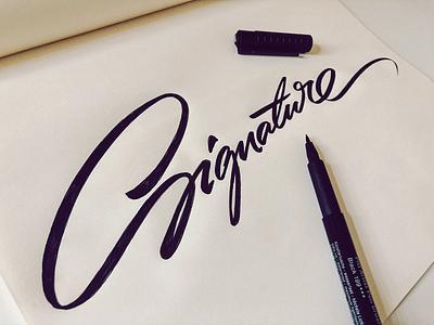 Signature vintage handwritten process sketch specific flow lettering type calligraphy script illustration design logo custom branding signature