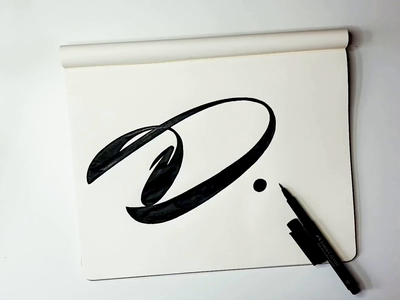 D branding initials mark process video fun graphic design logomaker script unique logodesigner d letter design logo custom calligraphy flow type lettering